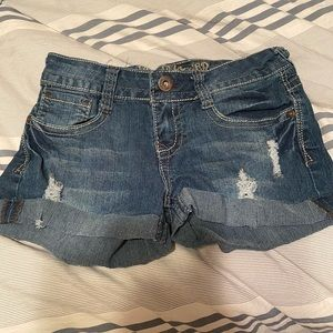 Wallflower distressed jean shorts